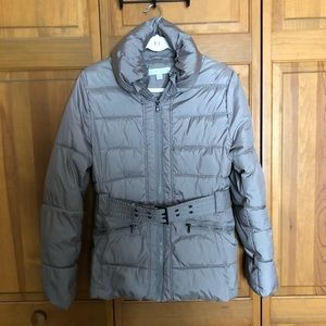 New York & Company Gray Puffer Coat Belted Size M